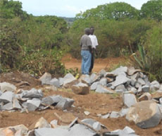 Scene after rocks were split on road